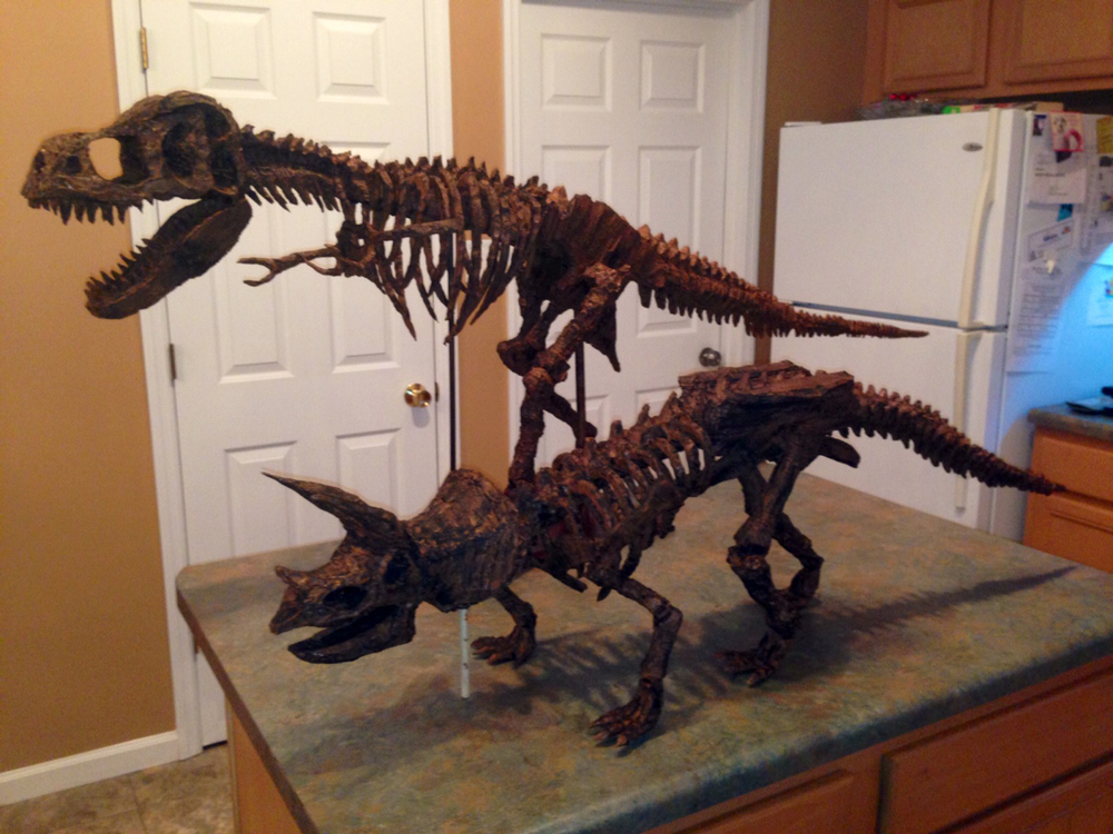 Home made dinosaur fossil replica