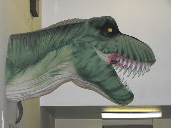 Foam T-rex bust sculpture