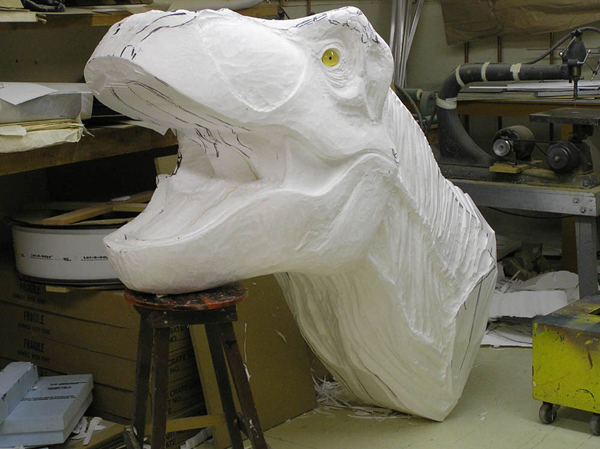 T rex head foam sculpture hot wire factory