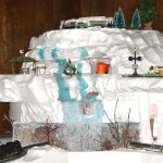 Frozen stream waterfall Christmas village