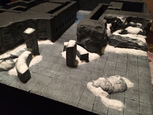 Snow covered miniature gaming terrain.