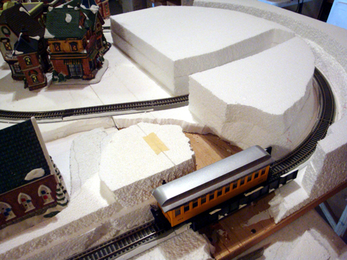 Making Department 56 and railroad display
