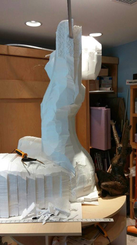 Carving foam statue
