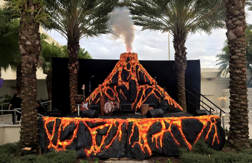 Volcano stage backdrop