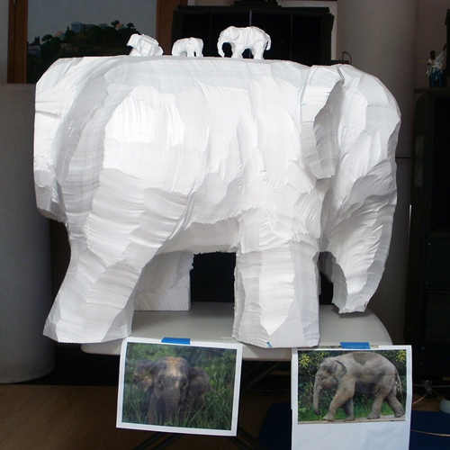 Roughing out Elephant sculpture