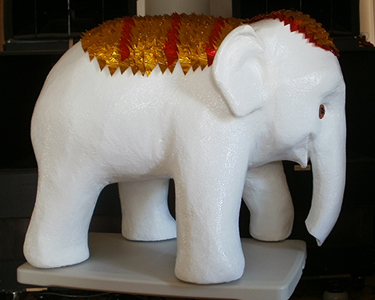 Elephant sculpture with headress