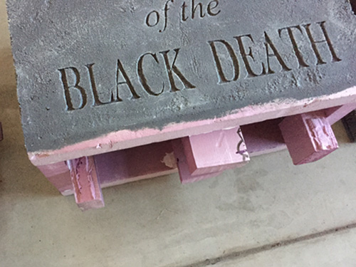Foam tombstone painted lettering