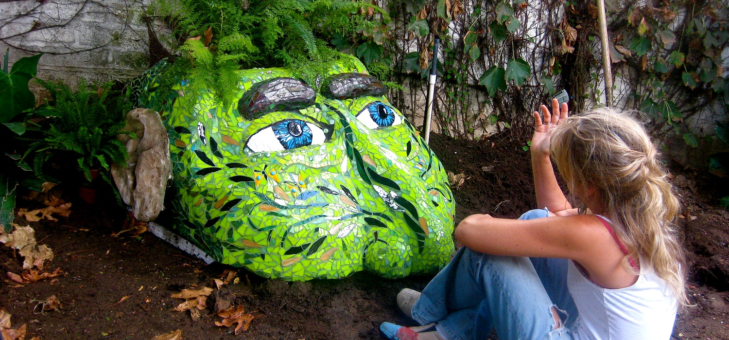 Mosaic Garden Sculpture Head by Katherine England