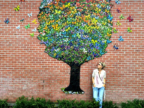 Butterfly Tree Mosaic Mural by Katherine England